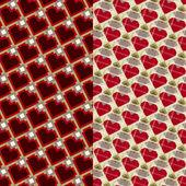 Hearts and diamonds. Geometric seamless patterns — Stock Vector