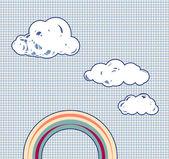 Dibujos animados de nubes y arco iris en retro con textura cielo — Vector de stock