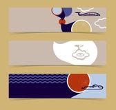 Set of horizontal banners, headers. Editable design template — Stock Vector