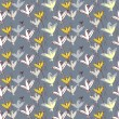 Birds as flowers. Seamless floral pattern. Hand-drawn style. — Stock Vector