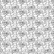 Floral seamless pattern background with black-and-white linear r — ストックベクタ