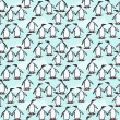 Seamless pattern of penguins — Stock Vector