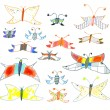 Stock Vector: Set of hand-drawn butterflies and moths