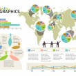 Set of infographic elements. Visual statistic information on wor — Vettoriali Stock