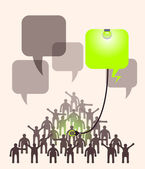 Crowd of people expressing special idea with speech bubble illum — Stock Vector