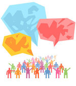 Crowd of people expressing special idea with speech bubble — Stock Vector