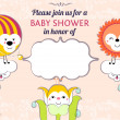 Baby shower invitation card editable template funny cute kawaii — Stock Vector