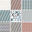 Waves - set of geometric seamless patterns — Stock Vector