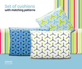 Set of cushions and pillows with matching seamless patterns — Stock Vector