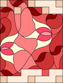 Stained glass window. Composition of stylized tulips, leaves, ge — Vector de stock