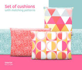 Set of cushions and pillows — Stock Vector