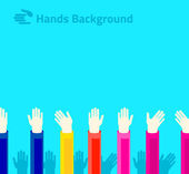 Hands raised up for voting or polling — Stock Vector