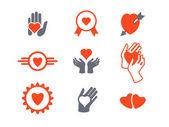 Hearts, hands icon set — Stock Vector