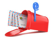Red Mailbox with Mails — Stock Photo
