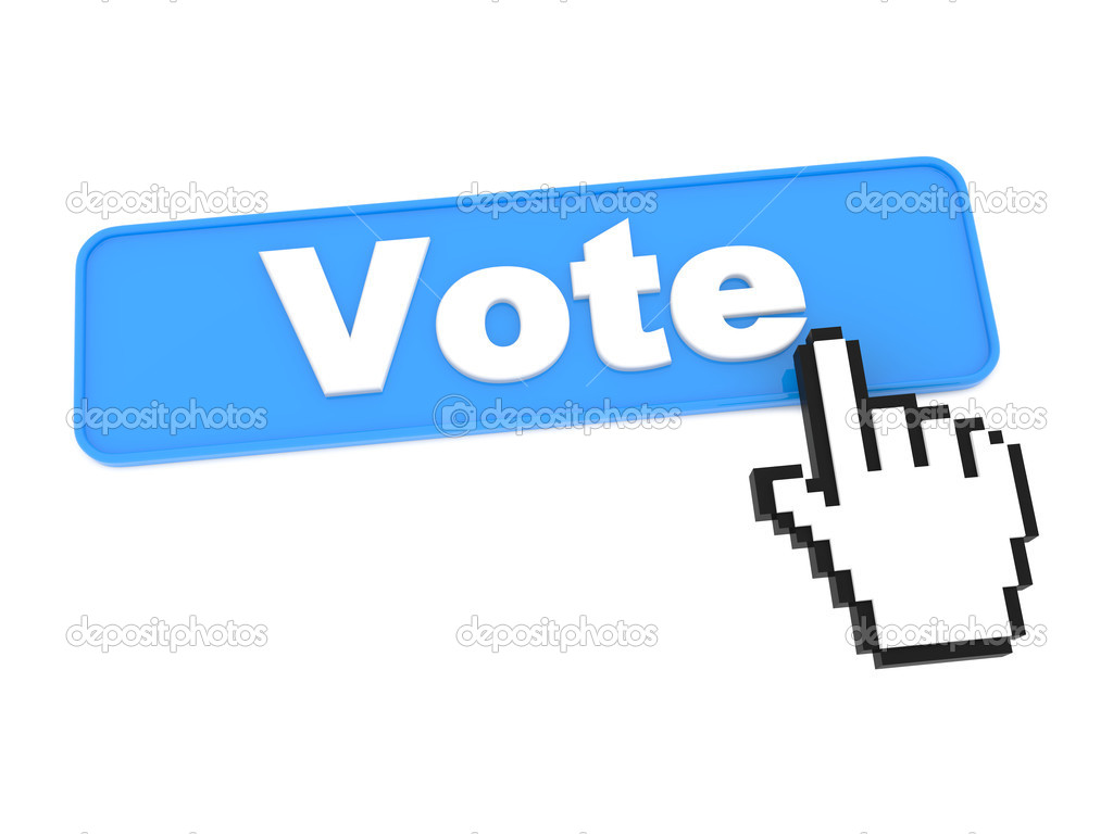 Blue Vote Web Button or Switch on White Background. — Stock Photo #13129710