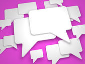 Blank Speech Bubble on Lilac Background. — Stock Photo