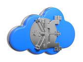 Moln med säker dörr. computing koncept. — Stockfoto