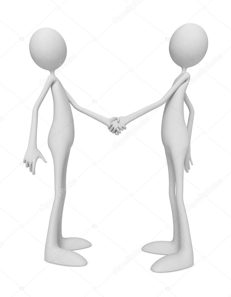 3D Little Human Characters Shaking Hands. Isolated on White.  Stock Photo #13321955