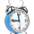 Foto Stock: Blue Old Style Alarm Clock Isolated on White.