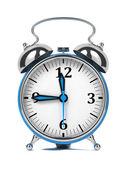 Blue Old Style Alarm Clock Isolated on White. — Stock Photo