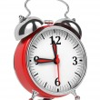 Stock Photo: Red Old Style Alarm Clock Isolated on White.