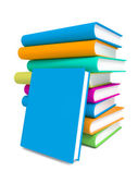 Pile de livres colorés sur fond blanc. — Photo