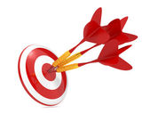 Dart Hitting a Target, Isolated On White. — Stock Photo