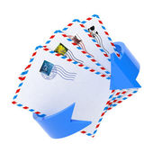 Email Icon with Red Arrow Over White. — Stock Photo