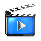 Clapboard with Blue Screen. Media Player Concept. — Stock Photo