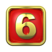 Gold Numbers in Frame, on Red Background. — Stock Photo