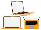 Set of Orange Modern Laptops. — Stock Photo