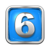 Silver Numbers in Frame, on Blue Background. — Stock Photo