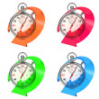 Stopwatch with Colored Arrow. Set on White. — Stock Photo