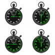 Stopwatch - Green Timers. Set on White. — Photo