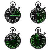 Stoppur - grön timers. på vit. — Stockfoto
