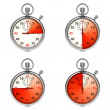 Stock Photo: Stopwatch - Red Timers. Set on White.