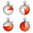 Stopwatch - Red Timers. Set on White. — Stok fotoğraf