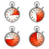 Stopwatch - Red Timers. Set on White. — Foto Stock