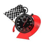 Bandiera a scacchi con cronometro e freccia. — Foto Stock