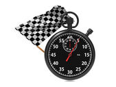 Stopwatch with checkered flag. — Stock Photo