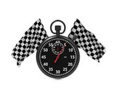 Checkered flag with Stopwatch. — Stock Photo