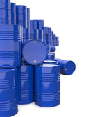 Heap of Blue Metal Oil Barrels. — Stock Photo