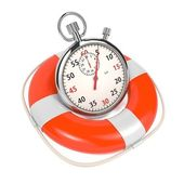 StopWatch in Lifebuoy on White Background. — Stock Photo
