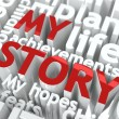 My Story - Text of Red Color. - Foto Stock