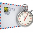 Stock Photo: Stopwatch and Letter.