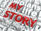 Minha história - texto de cor vermelha. — Fotografia Stock