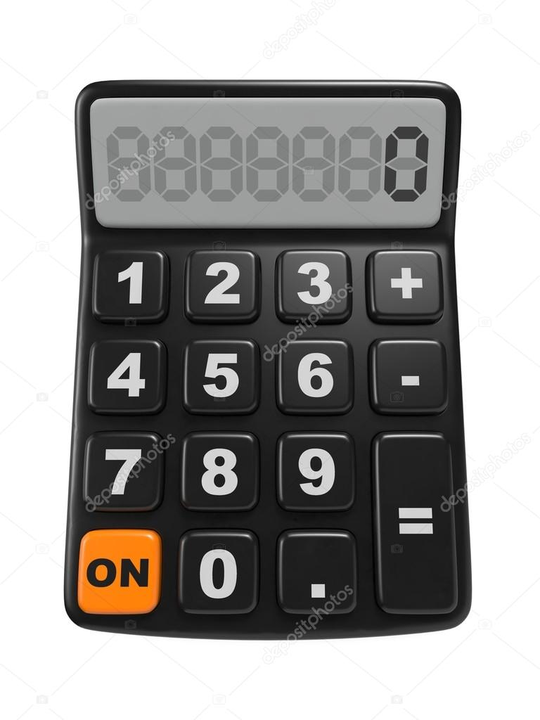 Black calculator 3D. Isolated on White Background. — Stock Photo #18546859