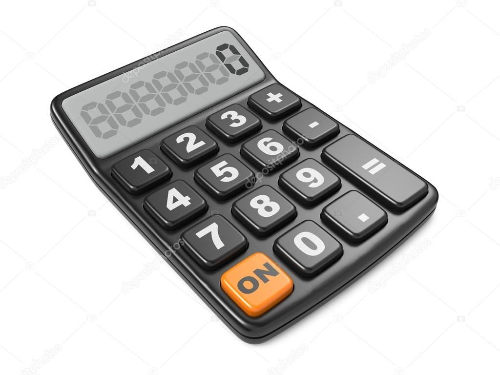 Black calculator 3D. Isolated on White Background. — Stock Photo #18546959