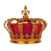 Golden Royal Crown Isolated on White. — ストック写真