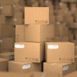 Stacks of Cardboard Boxes. — Stock Photo